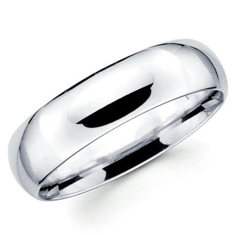 14K Solid White Gold 6mm Comfort Fit Men's and Women's