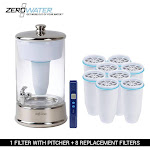 Zerowater 40-Cup Portable 2.5 Gallon Glass Dispenser & 8 Replacement Filter Combo