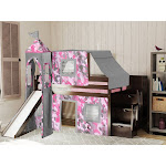 JACKPOT! Princess Low Loft Twin Stairway Bed with Slide Pink Camo Tent and Tower, Cherry