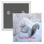 Cute squirrel snow scene winter wildlife christmas 2 inch square button