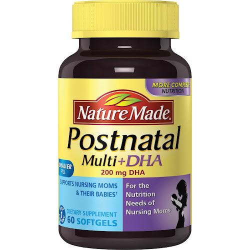 Nature Made Postnatal Multi+DHA, 200 mg, Softgels - 60 count bottle