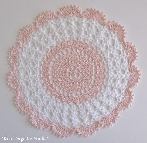 Soft Pink and White Doily.  Finished August, 2014