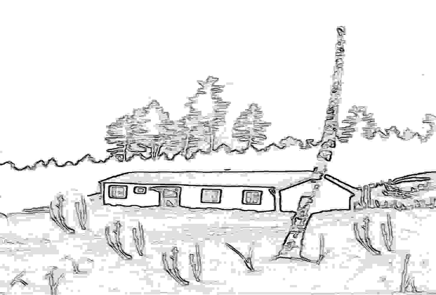 Haus im Wald, Walhütte mit Bäumen