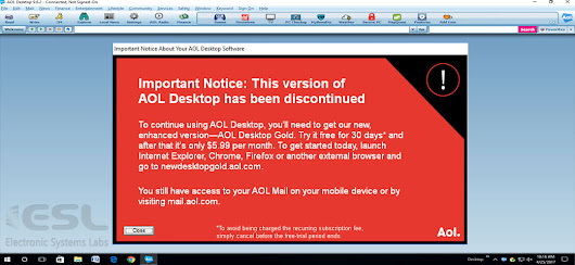 Free AOL Desktop to be discontinued! - ESL Newsletters