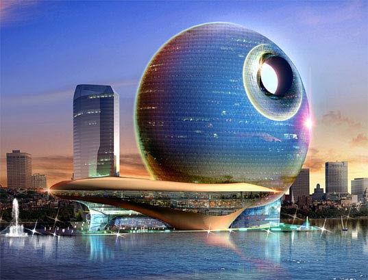 Azerbajan Death Star, Heerim Architects, Baku Death-Star, Death-star, Deathstar, Death Star, Star wars inspired, Hotel Full Moon, Full Moon Bay, Hotel Crescent, green development, green city, middle eastern green development, lunar architecture, Heerim Architects