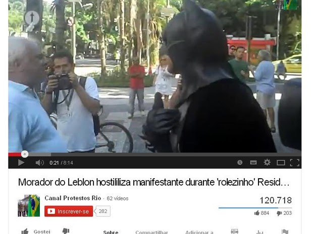 Bate-boca filmado gerou mais de 120 mil acessos na internet até 12h de quinta (23) (Foto: (Foto: Reprodução/YouTube/Canal Protestos Rio))