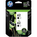HP 62 Ink Cartridge, Black - 2-pack