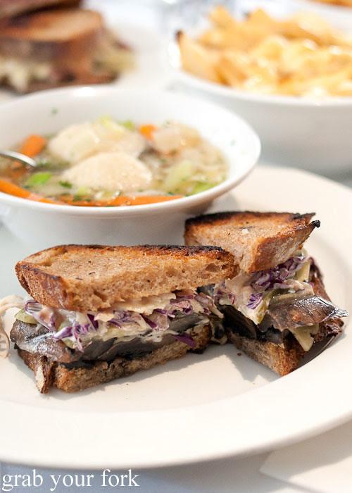 The Rebecca smoked portobello mushroom sandwich at Ruby and Rach, Strattons Hotel Sydney