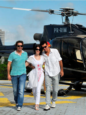 Bruno Mazzeo, Malga di Paula e Nizo Neto no heliponto da Central Globo de Produção (Foto: TV Globo / Alex Carvalho)