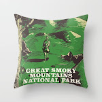 """Great Smoky Mountains National Park Vintage Travel Poster Couch Throw Pillow by Nick's Emporium - Cover (16"""" x 16"""") with pillow insert - Indoor Pillow"""