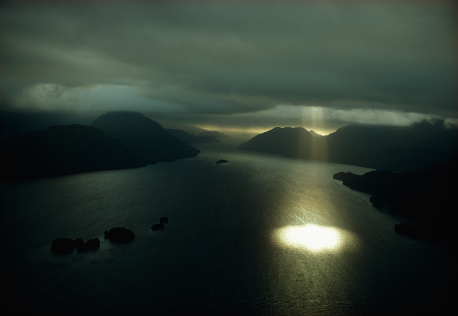 Aerial view of Dusky Sound near the southwestern tip of South Island in New Zealand, September 1971.Photograph by Gordon Gahan, National Geographic