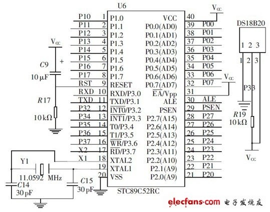 Connection Diagram microcontroller module and the DS18B20