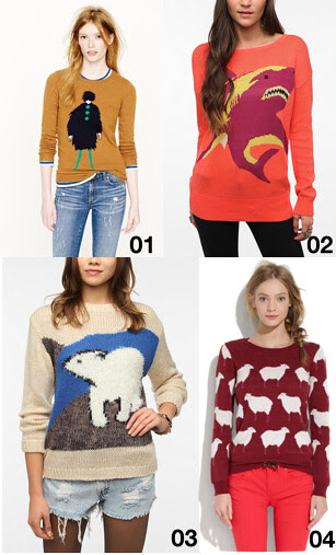 Novelty intarsia sweaters