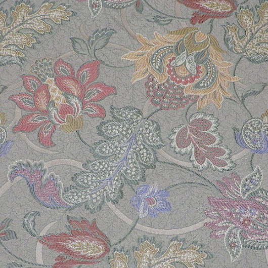 4.95 yds Intricate Jacobean Embroidered Tapestry Upholstery Fabric in a Soft Autumn Palette