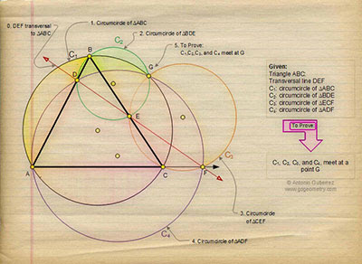 Sketch of Problem 547: Triangle, Transversal, Four Circumcircles, Concurrency. Software, Mobile Apps, iPad.