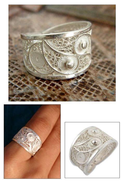 Women's Wide Silver Filigree Ring   Paisley Shine   NOVICA