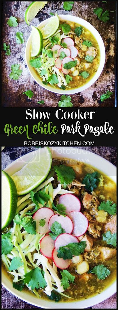 Slow Cooker Green Chile Pork Posole - Made with fresh roasted chiles, this slow cooker version of pork posole is a family favorite any time of the year. | From www.bobbiskozykitchen.com