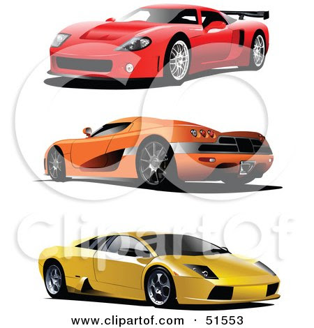 Digital Collage Of Three Red Orange And Yellow Sports Cars by Leonid