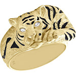 10K Yellow Gold Marquise Diamond Tiger/Panther Black Enamel Pinky Ring 0.05 CT