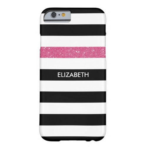 Modern Black White Stripes Pink Glitter and Name Barely There iPhone 6 Case