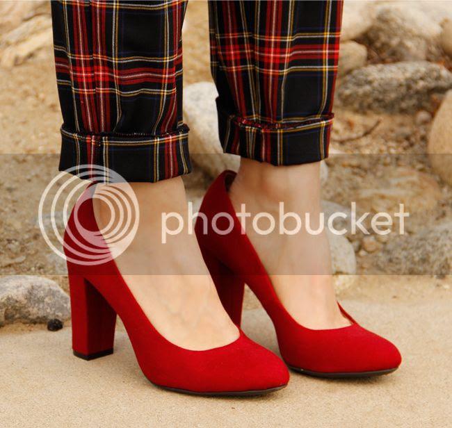 Merona Meg chunky heel pumps in red