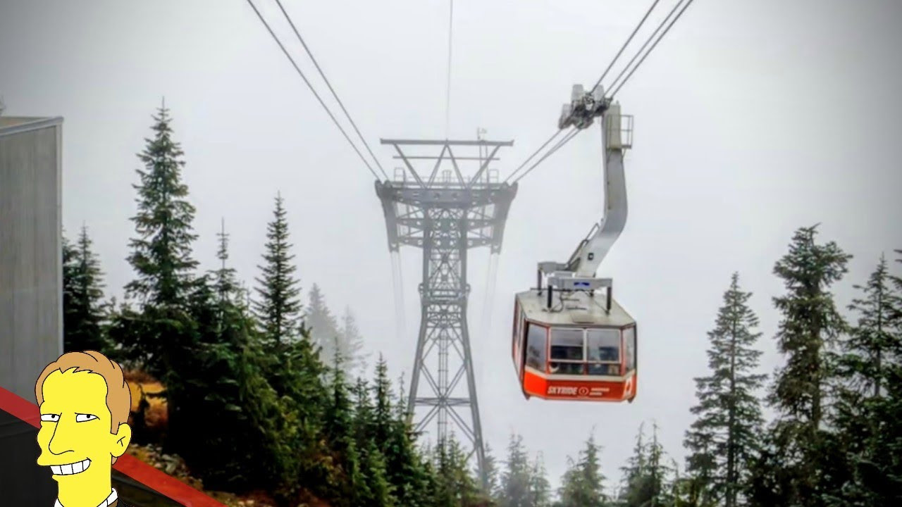 Red tram car of Grouse Mountain skyride arriving at the station