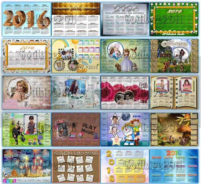 calendarios 2016 psd png para imprimir con foto