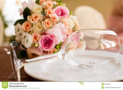 Pair Of Wedding Rings In A Wine Glass Stock Image   Image