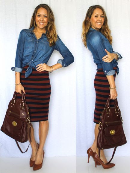 Jean top with pencil skirt