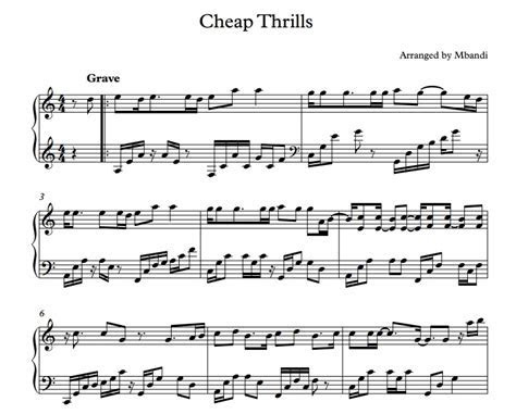 Mbandi ? Cheap Thrills Piano Cover  Sheet Music Download