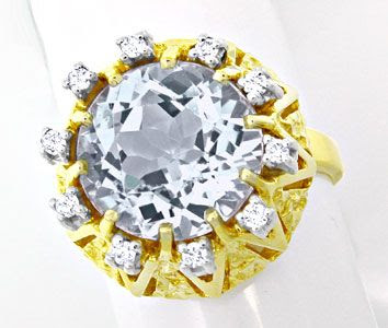 Foto 1, Neu! Brillant-Ring Top-Riesen-Aquamarin! Bicolor Luxus!, S8713