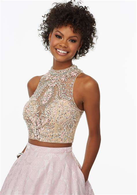 Two Piece Prom Dress with Brocade Skirt   Style 99116