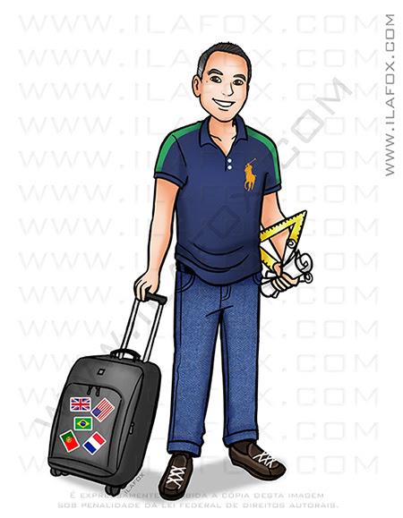 desenho personalizado, caricatura desenho, caricatura individual, viagens, caricatura arquiteto, caricatura mala viagem,