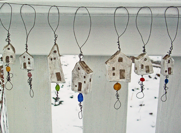 tiny house dangles with wire and beads