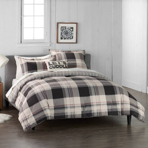 king size flannel comforter King Size Cuddl Duds Home Gray Lodge Plaid 4 piece Flannel  king size flannel comforter