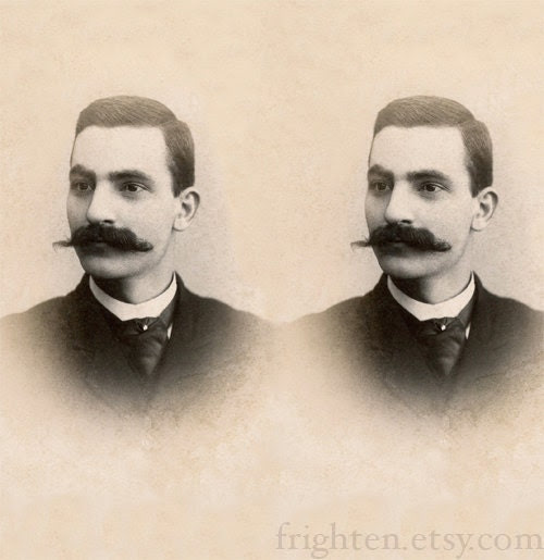 Altered Antique Portrait, WTF is with the Mustaches, frighten - frighten