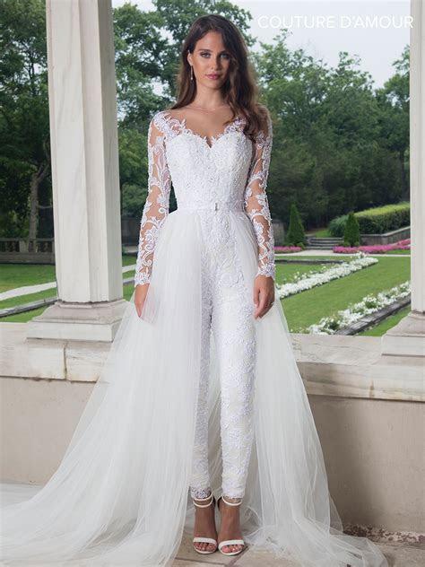 long sleeve wedding jumpsuit  train  marys bridal