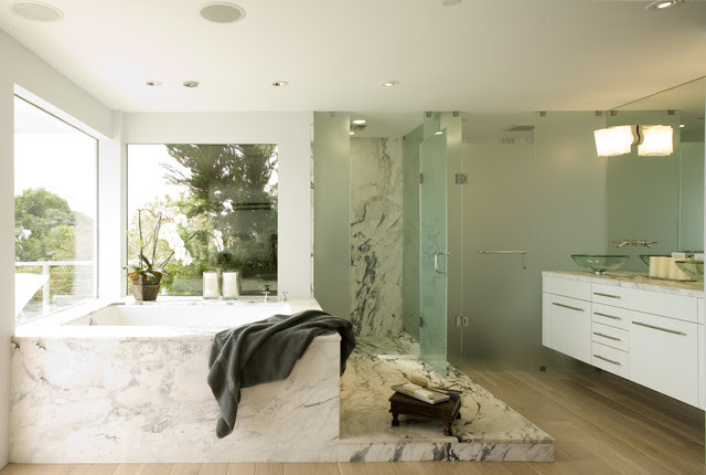 Master bath w/ frosted glass shower surround, floating vainty ...