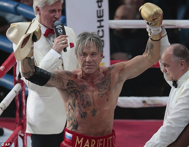 Hollywood star Mickey Rourke made a victorious return to the ring as he beat Elliot Seymour in two rounds