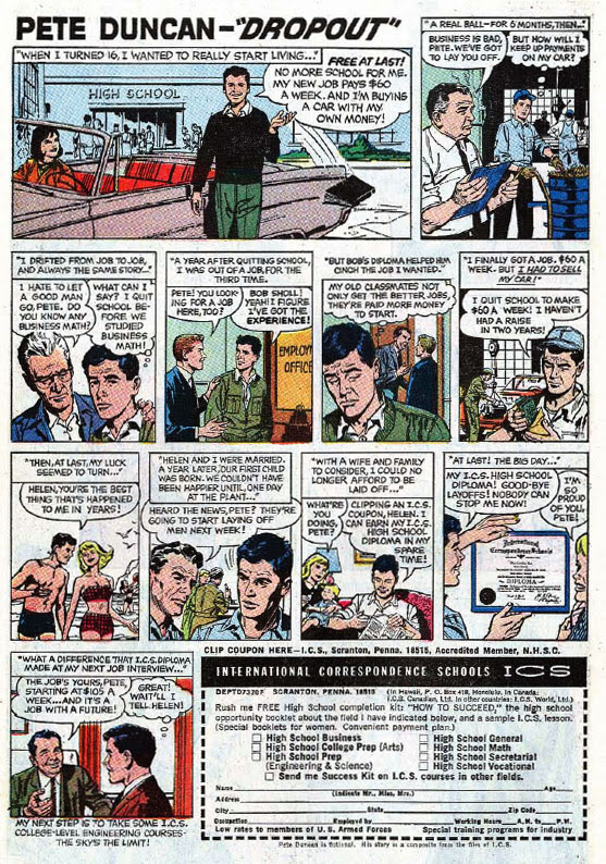 Comic book-format ad for International Correspondence Schools