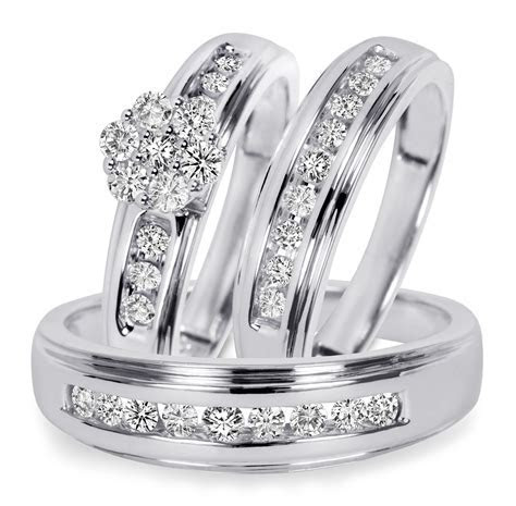 3/4 CT. T.W. Diamond Trio Matching Wedding Ring Set 14K