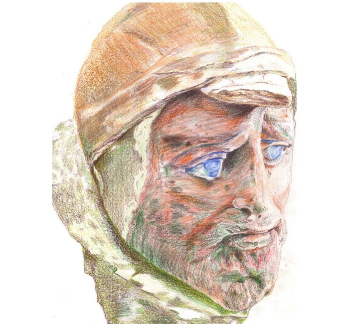 Bust of a man, found at from Khalchayan, a major site of the Yuezhi (later Kushan) people, in Bactria (modern Surxondaryo Province, Uzbekistan). Painted clay.Image credit wikipedia