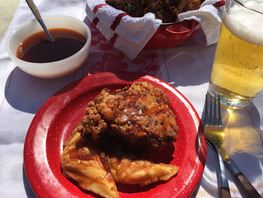 Fried Chicken and Waffles with Sriracha Syrup Recipe
