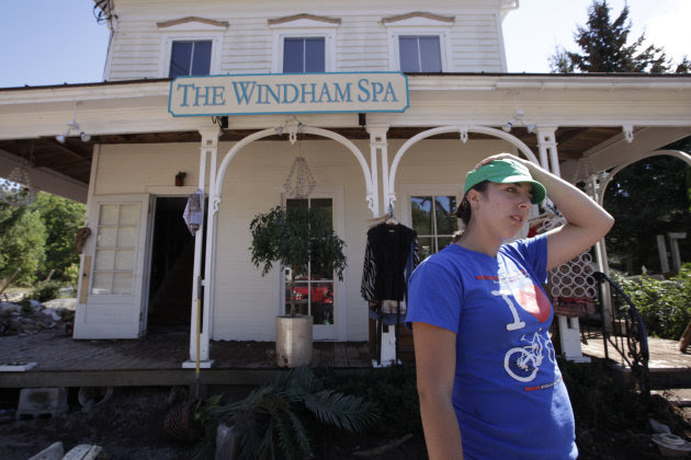 Antonia Schreiber, owner of the Windham Spa speaks to the Associated Press, Tuesday, Aug. 30, 2011 in Windham, N.Y. Officials say more than a dozen towns in Vermont and at least three in New York are