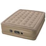 Insta-Bed Raised Inflatable Queen Air Bed Mattress with Neverflat Pump, Beige