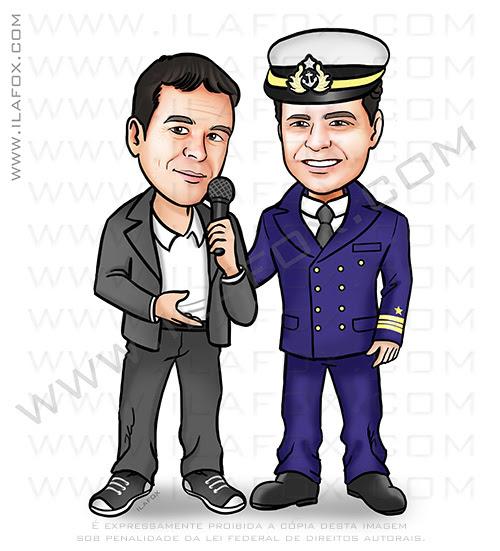 caricatura amigos, caricatura marinha, caricatura homem, caricatura presente, by ila fox