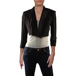Alex Evenings Womens Satin Trim Open Front Crop Blazer Black 8P