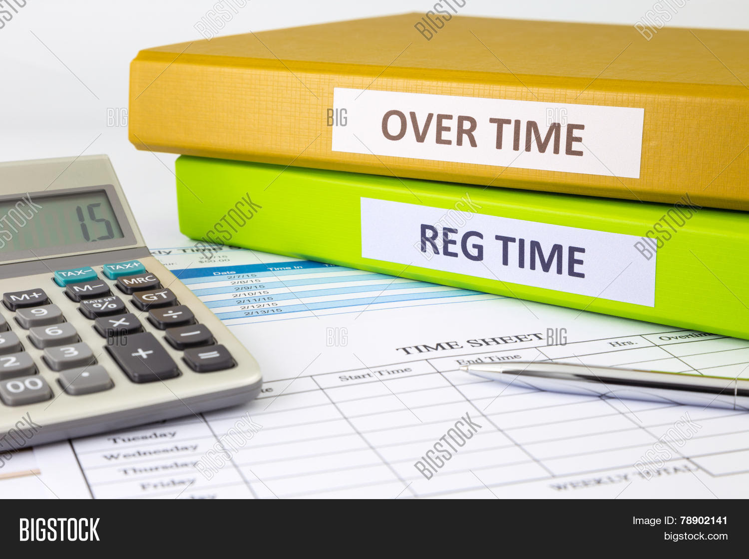 Daily Time Record With Blank Payroll Time Sheet Stock Photo ...