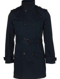 Topman Navy Full Length Belted Mac