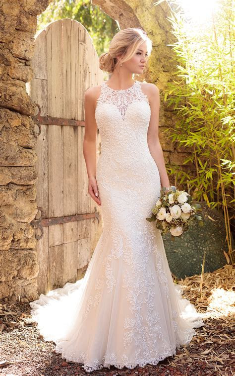 Satin wedding dress with halter neckline   Essense of